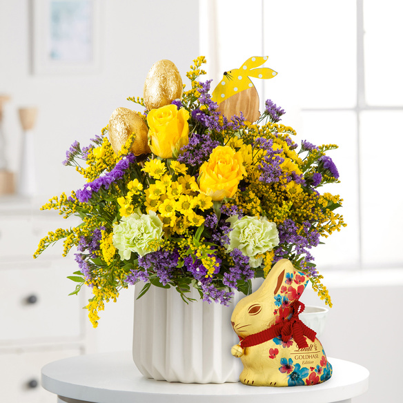Blumenstrauß  Hasenfreude mit Lindt Goldhase Blumen Edition