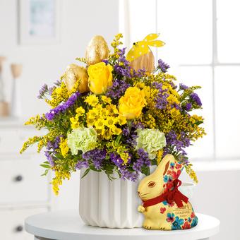 Hasenfreude mit Lindt Goldhase Blumen Edition