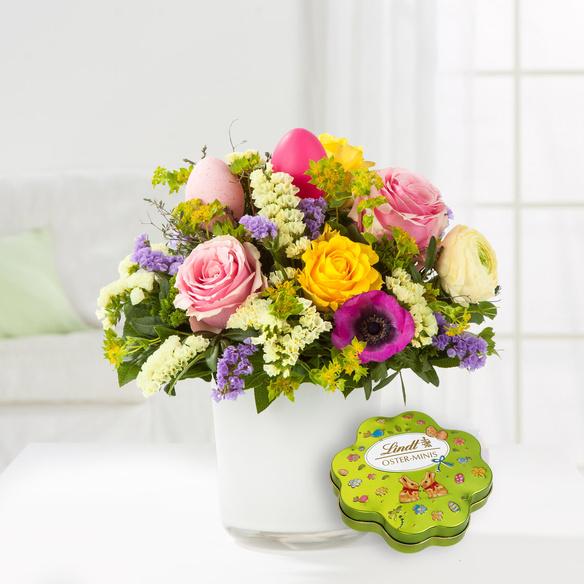 Blumenstrauß  Osterglück mit Lindt Oster Kleeblatt