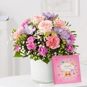 Blumenkuss Größe M mit Lindt Pralinen Frohe Ostern