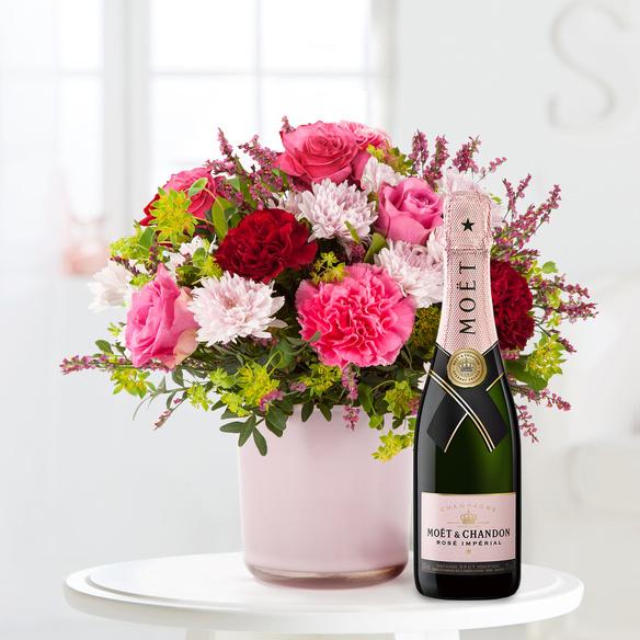 Blumenstrauß  Schön, dass es Dich gibt mit Champagner Moët Rosé