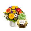 Blumenstrauß  Farbenglück Größe M mit Grand Ferrero Rocher
