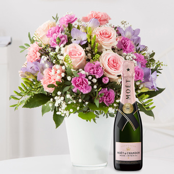 Blumenkuss Größe L mit Champagner Moët Rosé
