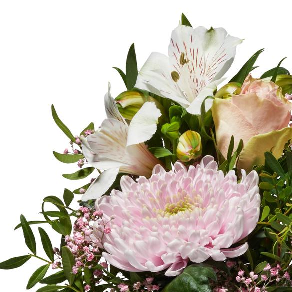 Wiesenstrauß  Freude für Dich mit Niederegger Nougat Herzen und Sekt VAUX Rosé Brut