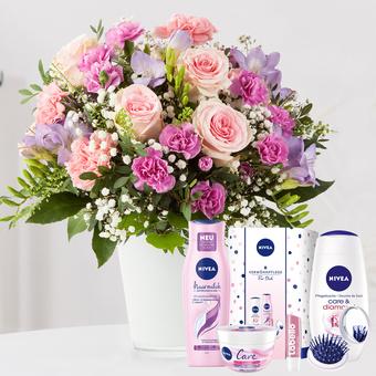 Blumenkuss Größe L mit Nivea Glamour Verwöhnset