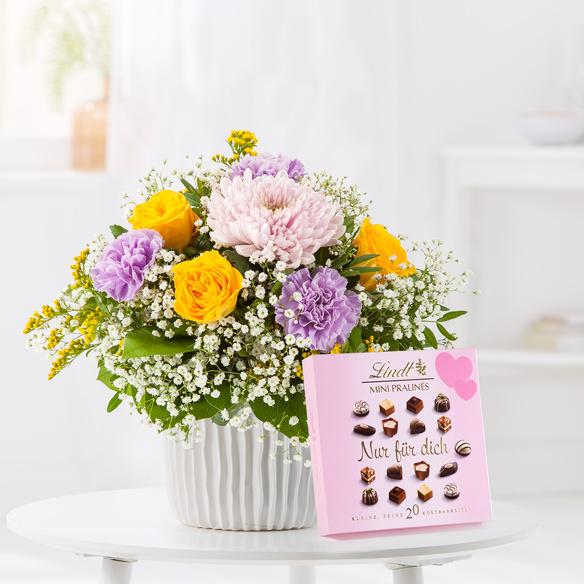 Blumenstrauß  Kleiner Dank mit Lindt Mini Pralinés Nur für Dich