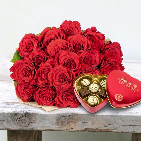Rosenstrauß  Premium-Rosen in Rot 20 Stiele mit Lindt Herz