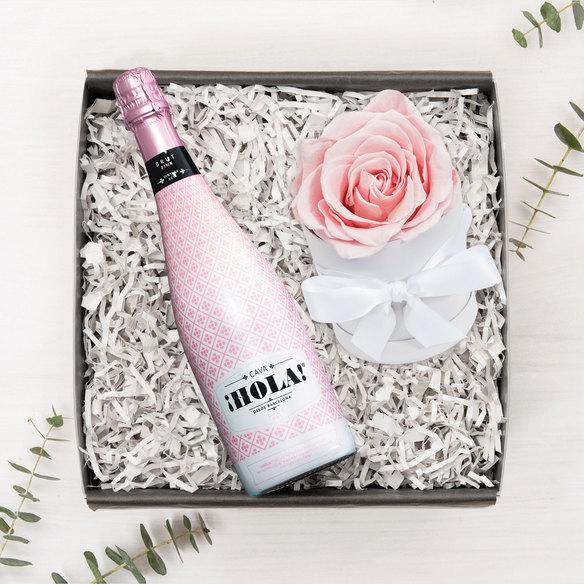 Ewige Rose in Hutschachtel mit Cava iHola!