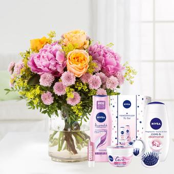 Blumenmeer mit Nivea Glamour Verwöhnset