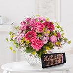 Blumenstrauß  Pink Summer mit Schriftzug Das beste Alter ist jetzt