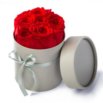 Ewige Premium-Rosen in Rot mit Hutschachtel