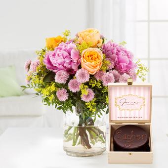 Blumenmeer mit Mini Sachertorte