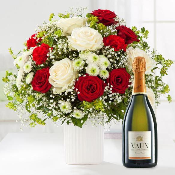 Blumenstrauß  Only for You Größe XL mit Sekt Vaux Cuvée