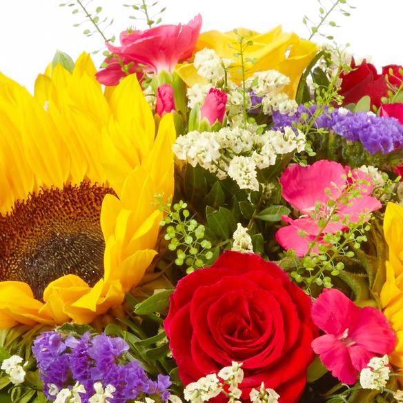 Blumenstrauß  Sonnenlicht mit Buch Herzenswünsche