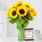Sonnenblumen 10 Stiele mit Schokolade FÜR DICH