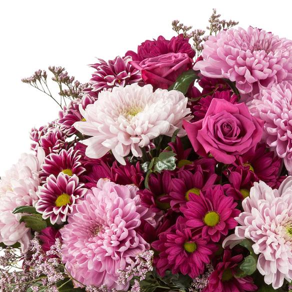 Blumenstrauß  Purple Dream mit Vaux Rosé Sekt brut