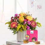 Blumenstrauß  Spiel der Farben Größe M mit Schoko Taler