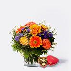 Blumenstrauß  Herbstsinfonie mit Lindt Herz