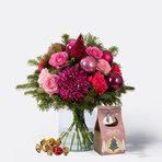 Blumenstrauß  Pink Christmas mit Lindt Süsse Grüsse