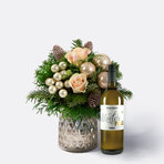 Blumenstrauß  Weihnachtsgruß Größe M mit Winterpulle weißer Glühwein