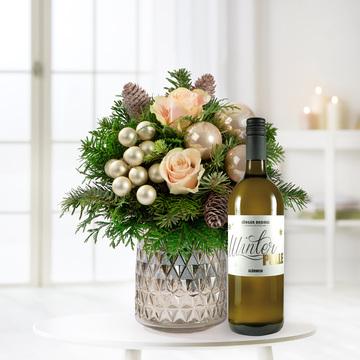 Weihnachtsgruß Größe M mit Winterpulle weißer Glühwein