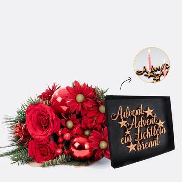 Weihnachtlicher Gruß mit Schriftzug Advent Advent