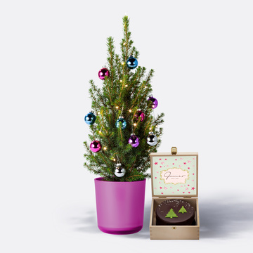 Weihnachtsbaum ca. 40 cm mit Schmuck mit Winterlicher Sachertorte