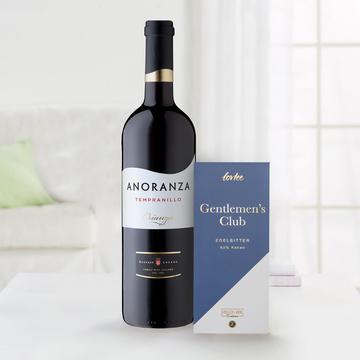 Rotwein Crianza Anoranza mit Edelbitterschokolade Gentlemen's Club