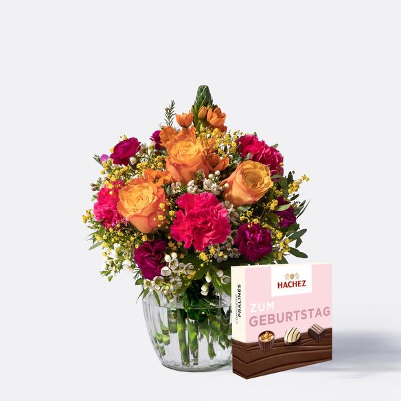 Blumenstrauß  Herzlichen Glückwunsch Größe M mit Hachez Zum Geburtstag