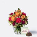 Blumenstrauß  Herzlichen Glückwunsch Größe M mit Geburtstagsküchlein mit Kerze
