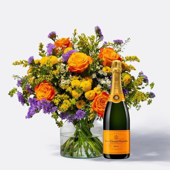 Wiesenstrauß  Happy Birthday Größe L mit Champagner Veuve Clicquot