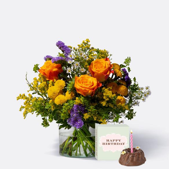 Wiesenstrauß  Happy Birthday Größe M mit Geburtstagsküchlein mit Kerze