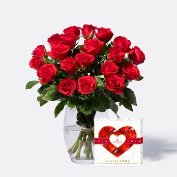 Rote Rosen Größe M 20 Stiele mit Niederegger Marzipan Herzen