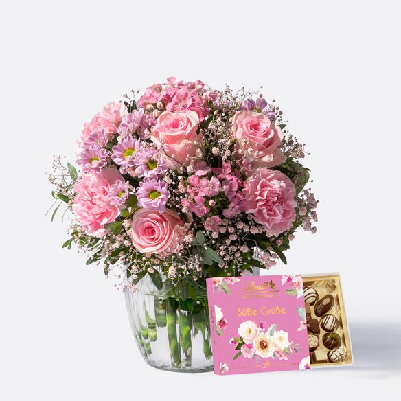 Blumenstrauß  Blumenkuss Größe M mit Lindt Süße Grüße