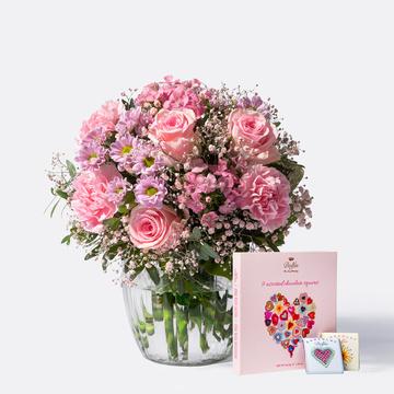 Blumenkuss Größe M mit 9 gemischten Mini Schokoladentafeln