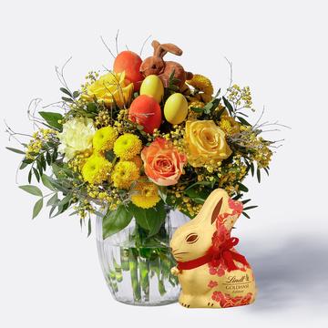 Hase im Glück mit Lindt Goldhase Blumen Edition