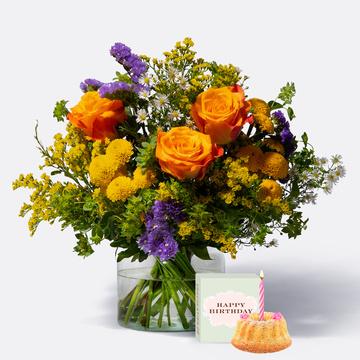 Happy Birthday Größe M mit Sommer Geburtstagsküchlein mit Kerze