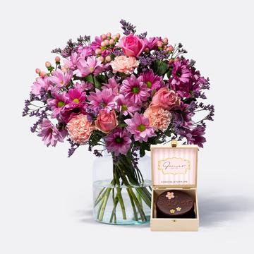 Traumhaft Pink Größe L mit Mini Sachertorte Blumen