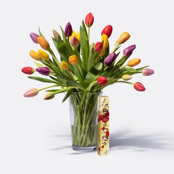 Tulpen Mix 30 Stiele mit Ferrero Die Besten Alles Liebe