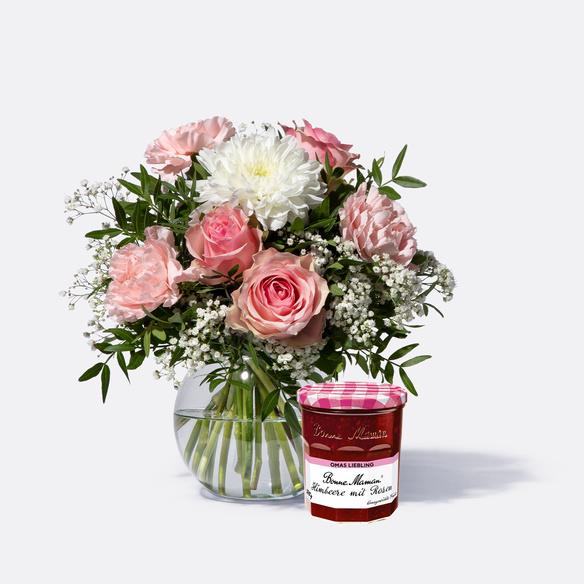 Blumenstrauß Alles Liebe mit GRATIS Bonne Maman Marmelade Himbeere mit Rose 370g
