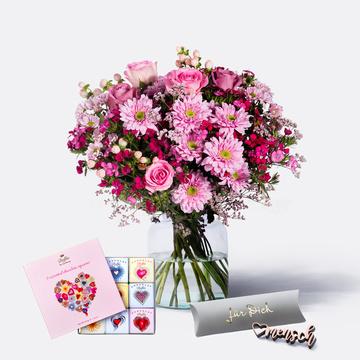 Traumhaft Pink Größe M mit 9 Mini Schokoladentafeln und Herzmensch Schriftzug aus Holz