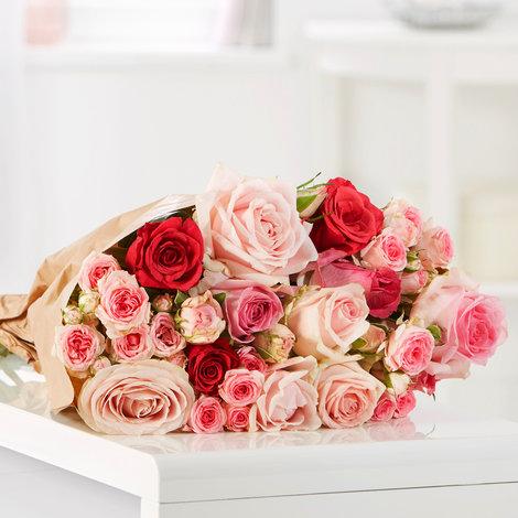 15 Stiele Mellow Roses Größe L in Rosa, Pink und Creme