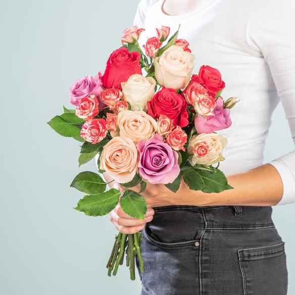Rosenstrauß Mellow Roses Größe L in Rosa, Pink und Creme