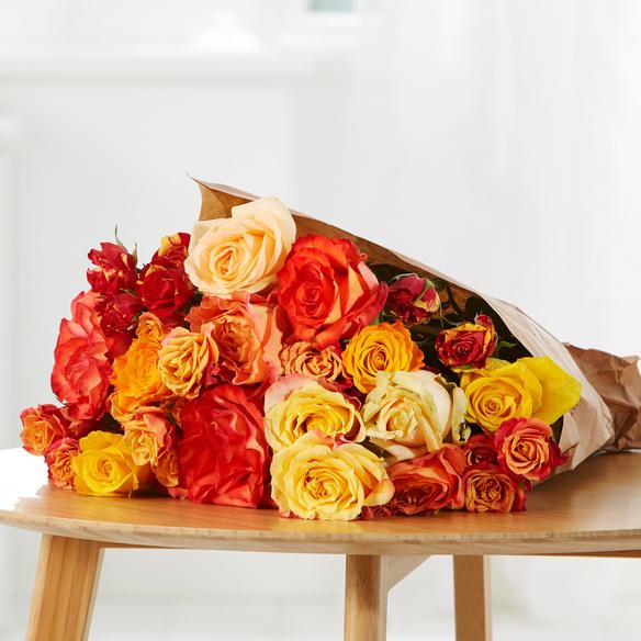 Rosenstrauß Happy Colours Größe L in Rot, Gelb und Orange