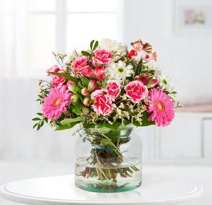 Blumenstrauß Schutzengel in Weiss und Pink