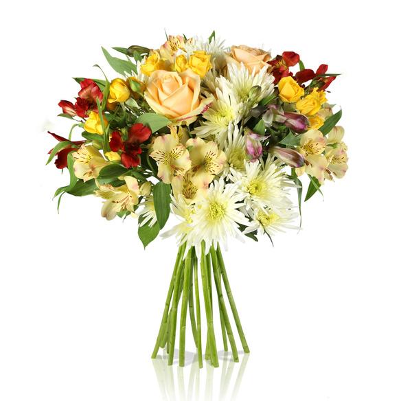 Blumenstrauß Liebe Umarmung in Rot, Gelb, Creme und Apricot