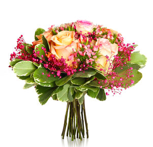 Blumenstrauß Louvre in Rosa, Pink, Creme und Apricot