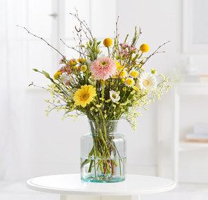 Blumenstrauß Thank You in Weiss, Gelb und Apricot