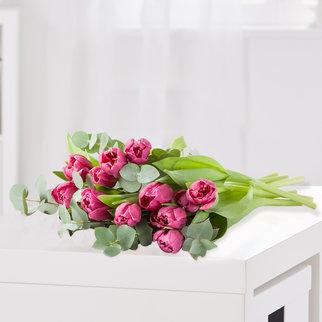 Tulpen in Violett mit Eukalyptus