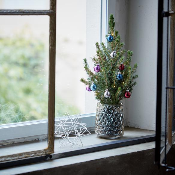 Weihnachtsbaum ca. 40 cm mit Schmuck mit Keramik-Übertopf